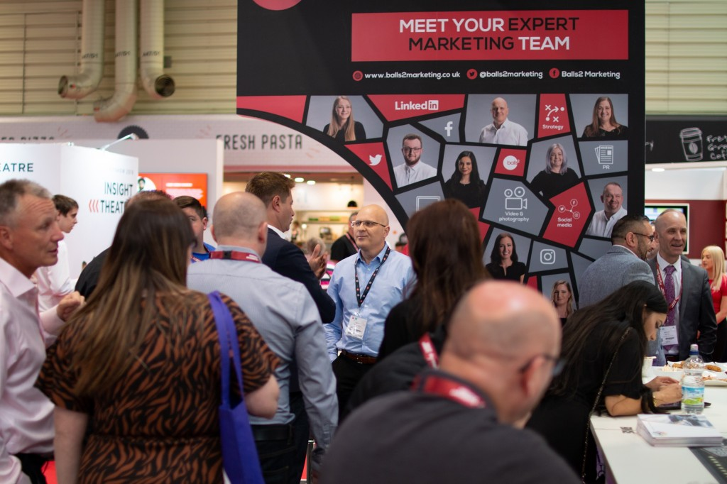 Andy Ball talking to DGCOS Brand Ambassador George Clarke on the Balls2 Marketing FIT Show stand